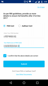 Enter your PAN number or Aadhar number as a KYC field