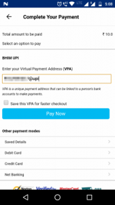 Select a source from which to add money. In this example we are using BHIM UPI.
